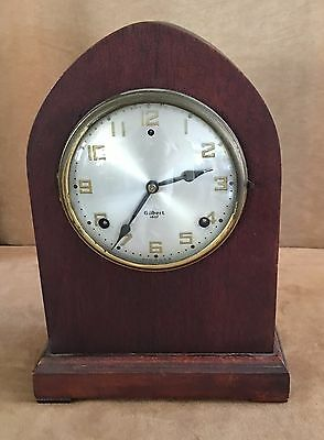 Antique Bedford Beehive Mantle Clock Wm L Gilbert wooden vintage cathedral co