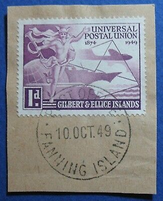 1949 GILBERT AND ELLICE ISLANDS 1d SCOTT# 56 S.G.# 59 USED               CS03552