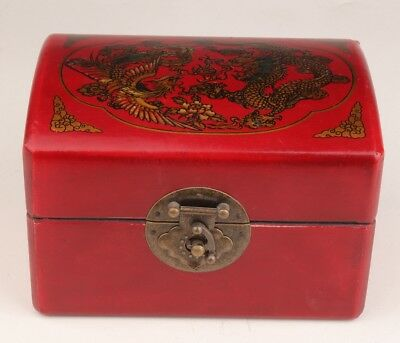Red Leather Dragon Phoenix Vintage Jewelry Box Old Dowry Decoration