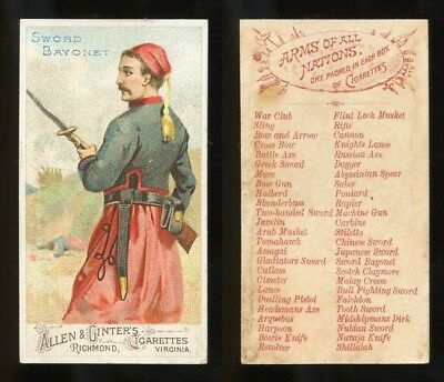"""1887 N3 Allen & Ginter Arms of All Nations """"Sword Bayonet"""" EXCL **AA-9097**"""