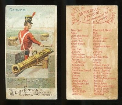 "1887 N3 Allen & Ginter Arms of All Nations ""Cannon"" GOOD **AA-9103**"
