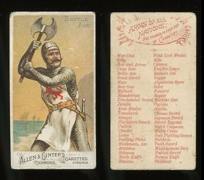 """1887 N3 Allen & Ginter Arms of All Nations """"Battle Axe"""" VG **AA-9023**"""