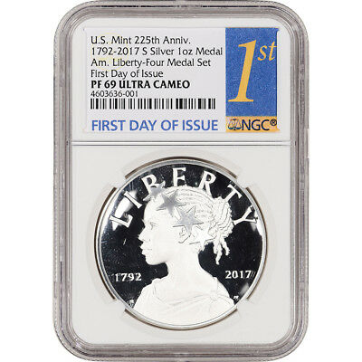 2017-S US American Liberty Silver Medal NGC PF69 UCAM First Day Issue 1st Label