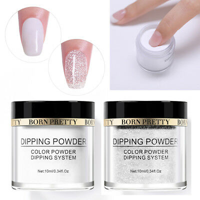 2Bottles BORN PRETTY Dip Dipping Glitter Powder Shiny White Long Lasting French