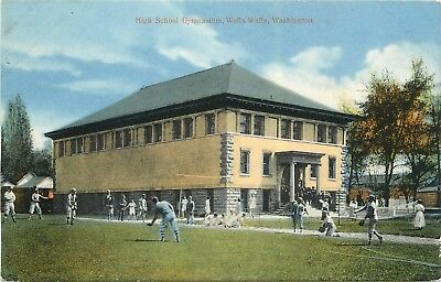 High School Gym, Walla Walla WA Postcard. Baseball Players Playing Catch