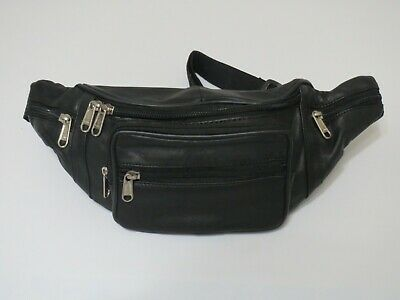 Fanny Pack Waist Bag Hip Belt Pouch Travel Purse Black Genuine Leather Men Women
