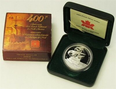 2004 Canada 1st N. America French Settlement 400th Anniv $1 Silver Proof RCM OGP