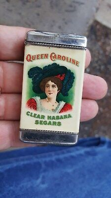great Queen Caroline Clear Habana Segars (Cigars) Ad Match Holder,From 5c to 50c