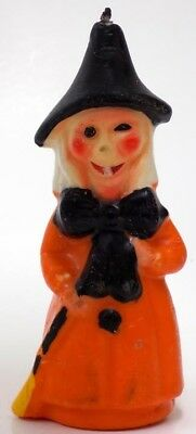 Vintage Capri Halloween  Candle  Witch w' Snaggle Tooth & Black Bow