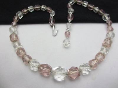 Vintage Clear and Pink Cut Crystal Glass Bead Necklace