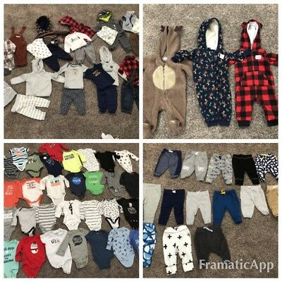 Huge lot of baby boy outfits, Body Suits, pants size 0-3 months