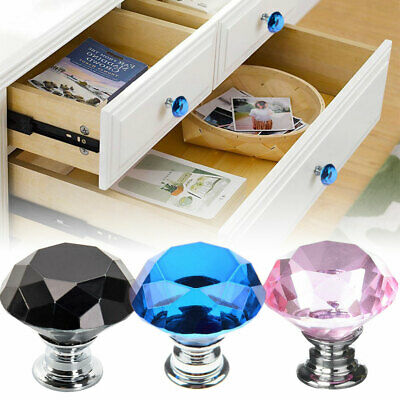 10-pack 30mm Crystal Glass Cabinet Knobs Diamond Pull Drawer Kitchen Cupboard