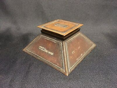 Antique Copper/Sterling Arts and Crafts Desktop Inkwell