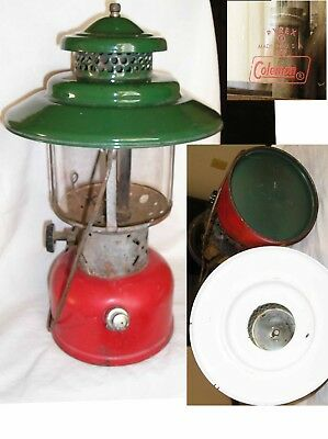 RARE VINTAGE Coleman Lantern 228E Big Hat Red Base Green Top 6 62 1962 oLD vTG