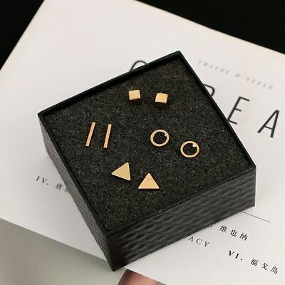 4pairs Gold Silver Tiny Circle T Bar Earring Geometric Triangle Stud Earrings