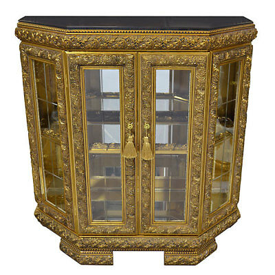 Antique French Louis XV Style Gilt Marble Top Vitrine Curio Cabinet,43'' x 43''H
