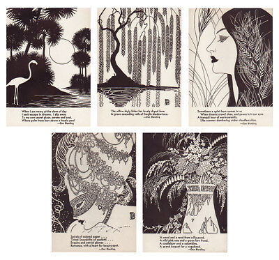 DON BLANDING mini offset prints with poetry WOMEN & NATURE lot of five 1950s