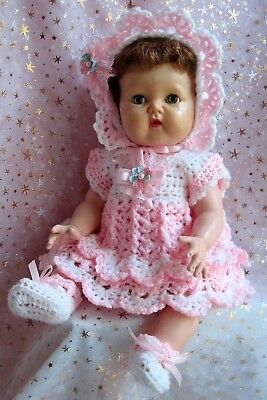 Sweet DRESS, BONNET  & SHOE set designed for 15 inch Tiny Tears - Hand Crocheted