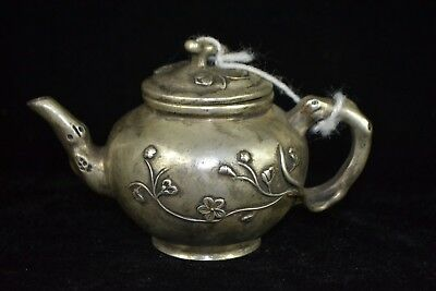decor Collectible tibet silver carve delicate flower chinese rare high Teapot
