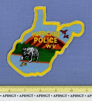 HURRICANE WEST VIRGINIA Sheriff Police Patch FISH BEAR STATE SHAPE