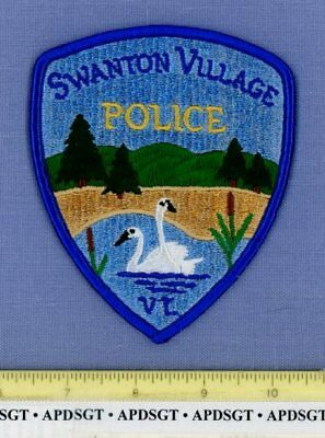SWANTON VERMONT Sheriff Police Patch 2 WHITE SWANS ON LAKE SWAN
