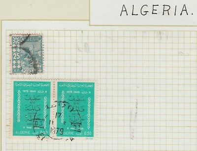 ALGERIA on Old Book Page, 1979 pair,  etc USED as per scan #