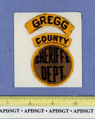 GREGG COUNTY SHERIFF (3 Pieces Old Vintage) TEXAS Police Patch LONE STAR STATE