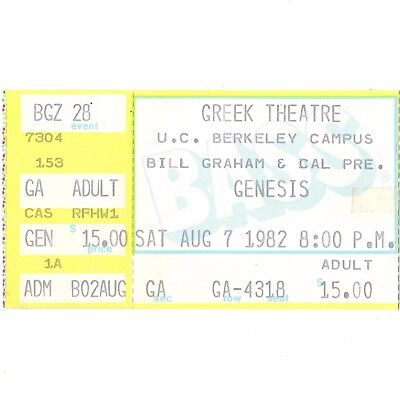 GENESIS Concert Ticket Stub BERKELEY CA 8/7/82 GREEK THREE SIDES LIVE TOUR Rare