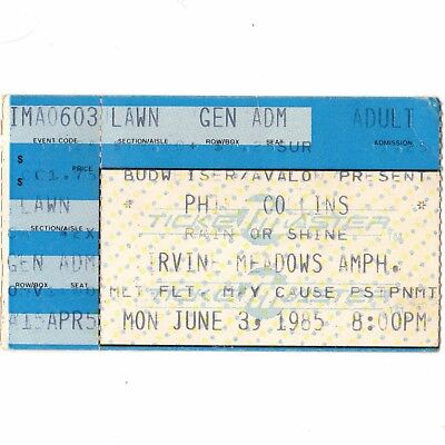 PHIL COLLINS Concert Ticket Stub IRVINE CA 6/3/85 NO JACKET REQUIRED GENESIS