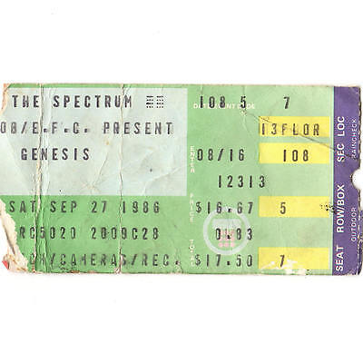 GENESIS Concert Ticket Stub PHILADELPHIA PA 9/27/86 INVISIBLE TOUCH WORLD TOUR
