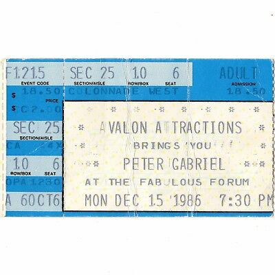 PETER GABRIEL Concert Ticket Stub LOS ANGELES CA 12/15/86 FORUM GENESIS SO TOUR
