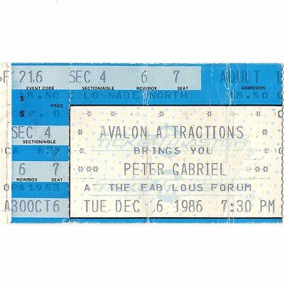 PETER GABRIEL Concert Ticket Stub LOS ANGELES CA 12/16/86 FORUM GENESIS SO TOUR