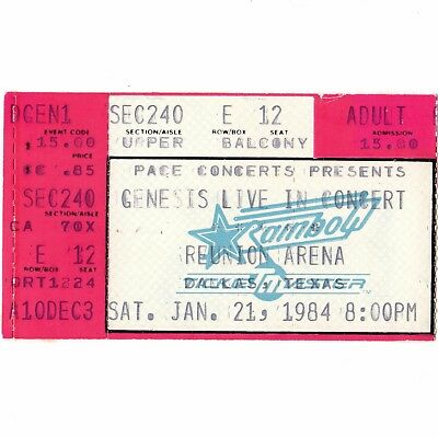 GENESIS Concert Ticket Stub DALLAS TX 1/21/84 REUNION ARENA THE MAMA TOUR Rare