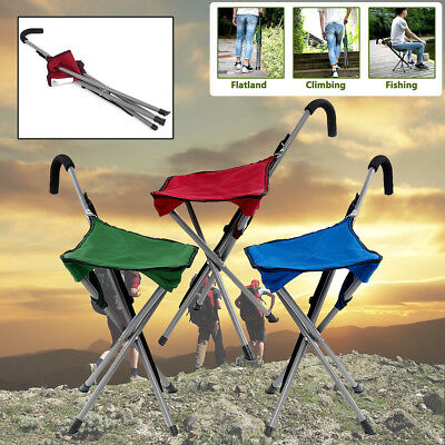 Folding Cane Portable Walking Stick Chair Camping Hiking Handle Seat Rest Tripod