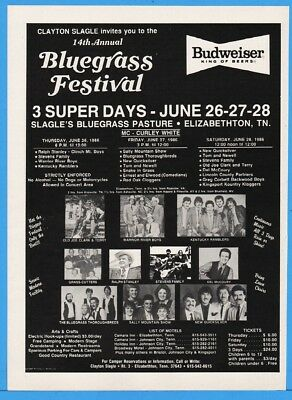 1986 Elizabethton TN Bluegrass Fest Stanley McCoury Quicksilver Sally Mtn Ad