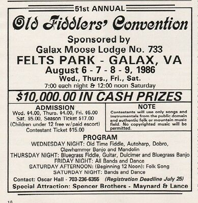 1986 Old Fiddlers Convention Felts Park Galax Moose Lodge VA Bluegrass Prizes Ad