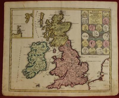 United Kingdom & Ireland In Ancient Time 1720 Weigel Antique Copper Engraved Map