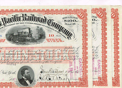 Set 3 Northern Pacific Railroad Co., 1880s, red, VF+, nice