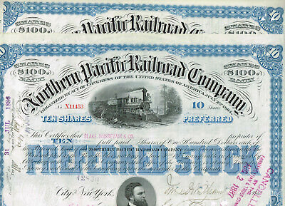 Set 2 Northern Pacific Railroad Co., 1880s, blue, VF+, nice