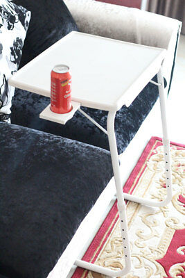 White Color Portable Tv Tray Table Wcup Holder Adjustable Folding