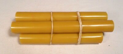 Beautiful rare lot of galalith yellow marbled 5 rods 636 grams