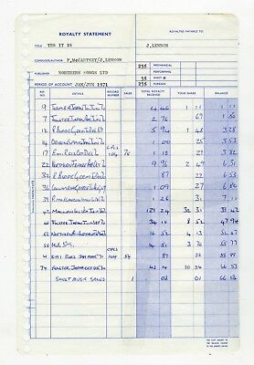 The Beatles John Lennon Yes It Is Northern Songs Royalty Statement 1971