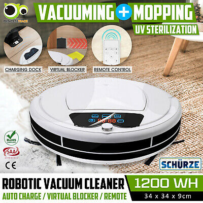 Robot Vacuum Cleaner Robotic Carpet Mop Floor Dry Wet Clean Automatic Recharge