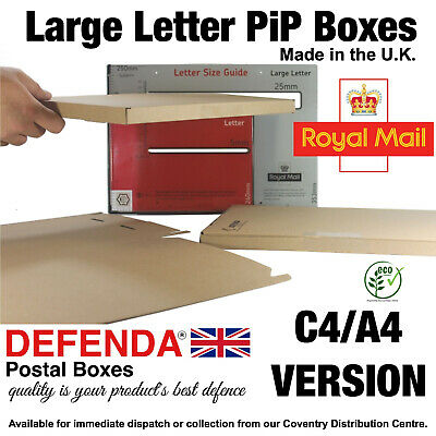 C4 A4 PIP Royal Mail Large Letter Size Cardboard POSTAL BOXES Shipping Mailers