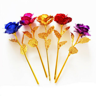 10pcs Foil Plated Rose Artificial Fake Flower Valentine's Day Gift Wedding Decor