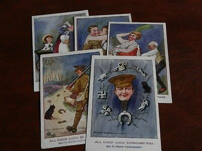 Five Original Fred Spurgin Signed Military Wwi Postcards - Ten-Six-One Series.