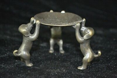chinese style Old Copper Carve lovely dog rare Statue Candlestick Collectible