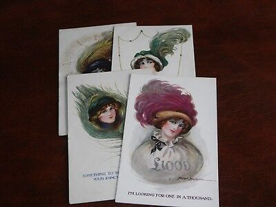 Four Original Fred Spurgin Signed Glamour Postcards - Topics Series.