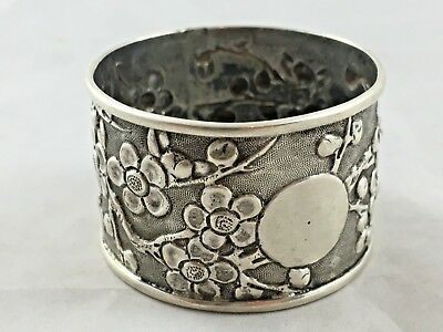 FINE ANTIQUE CHINESE EXPORT SOLID SILVER NAPKIN RING c1900
