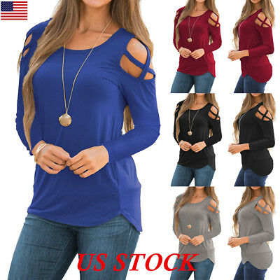 USA Summer Womens Strappy Cold Shoulder Tops Blouse Ladies Long Sleeve Tee Shirt